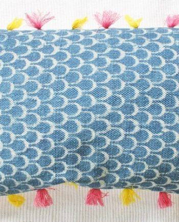 Blue Dhurrie Tassel Cushion Bungalow Living