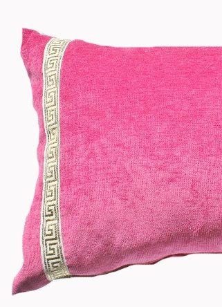 Pink Velvet Greek Key Lumber
