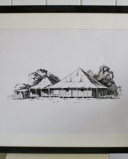 The Outback Cottage Black and White Sketch Bungalow Living