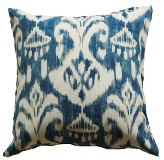 Indigo Ikat Indoor Outdoor Cushion Cover Bungalow Living