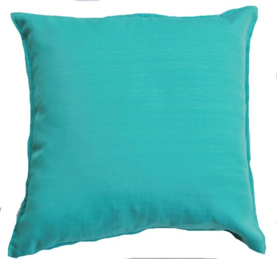 Aqua Lagoon Solid Indoor Outdoor Cushion Bungalow Living