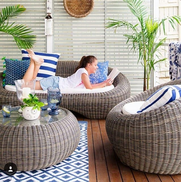 Bungalow Living Outdoor Cushions Blue Designer