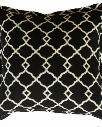 Black and Biege Lattice Indoor Outdoor Cushion Bungalow Living