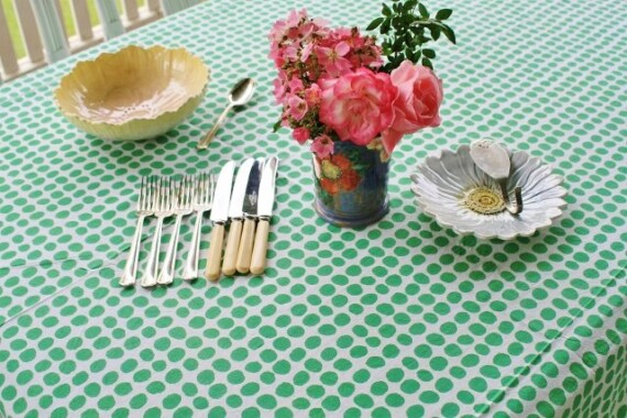 Green Spot Hand Printed Tablecloth Bungalow Living