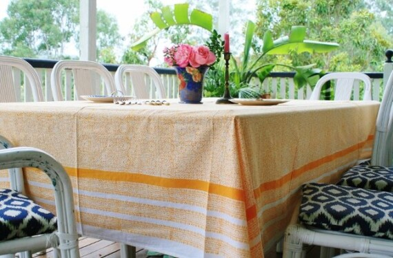 Casablanca Orange Large Tablecloth