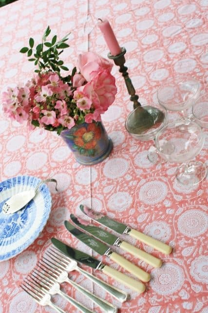 Garden Party Pink Tablecloth Hand Printed Bungalow Living