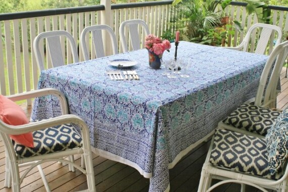 Blue Azure Hand Printed Tablecloth Bungalow Living