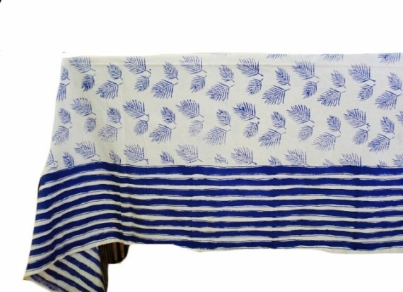 Palm Sunday Blue Tablecloth