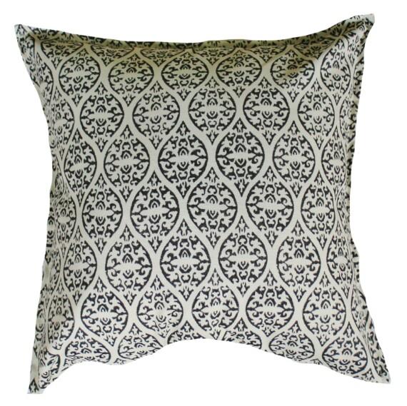Block Print Ebony Outdoor Indoor Cushion