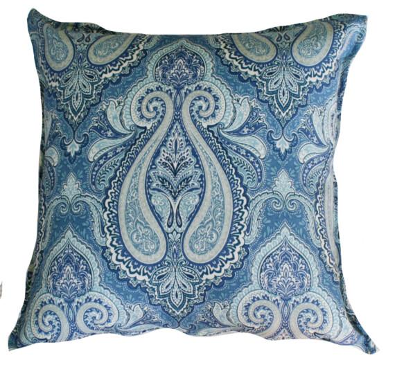 Azure Paisley Outdoor Indoor Cushion