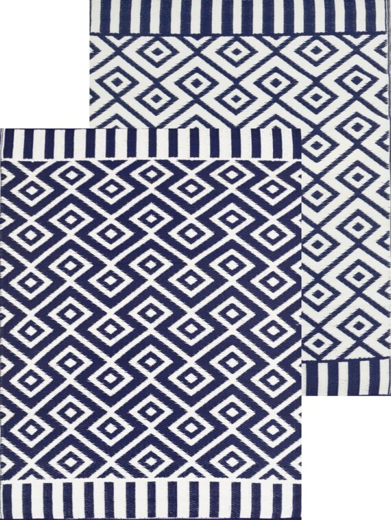 Navy and White Geometric Outdoor Rug