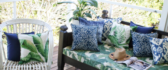 Botanical Indigo Geometric Outdoor Cushion Bungalow Living