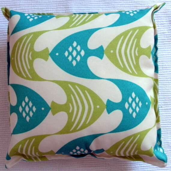 Blue & Green Fish Outdoor Indoor Cushion Cover