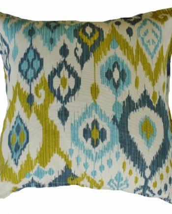 Aqua, Blue & Lime Green Ikat Outdoor / Indoor Cushion Bungalow Living