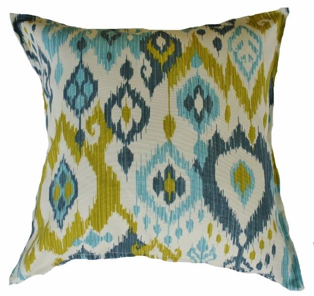 Aqua Lime Green Blue Ikat Outdoor Cushion Cover