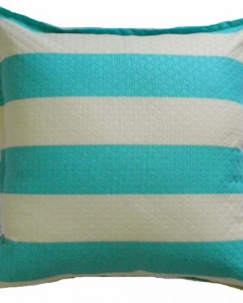 Aqua & Ivory Stripe Outdoor Indoor Cushion Bungalow Living