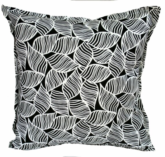 Black Leaf Outdoor Cushion Cover Bungalow Living