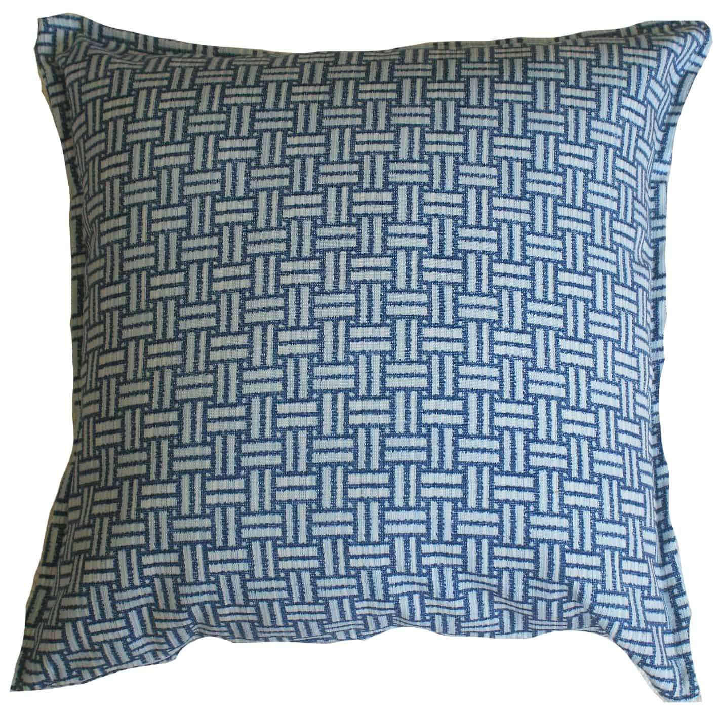 Blue Basketweave Indoor Outdoor Cushion Cover