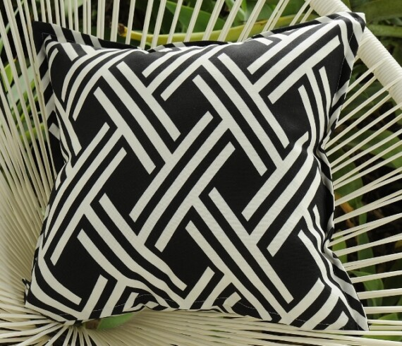 Black & White Maze Outdoor Cushion Bungalow Living