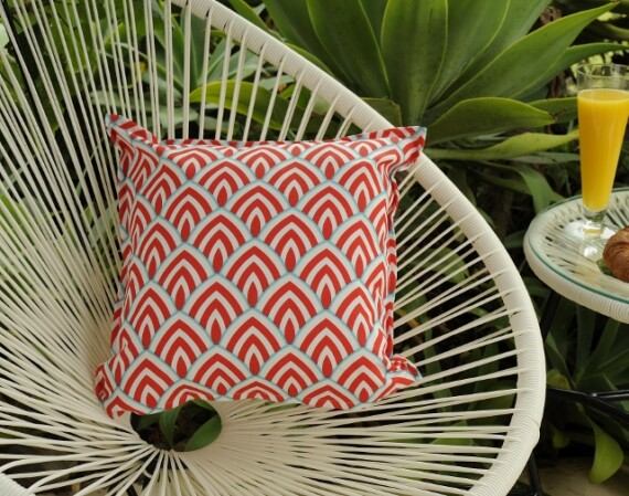 Red and Aqua Arches Outdoor Indoor Cushion