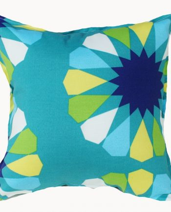 Aqua Geometric Flower Outdoor Indoor Cushion Cover Bungalow Living