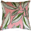 Pink & Green Tropical Leaves indoor Outdoor Cushion Bungalow Living