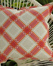 Pink & Orange Lattice Outdoor Indoor Cushion Bungalow Living