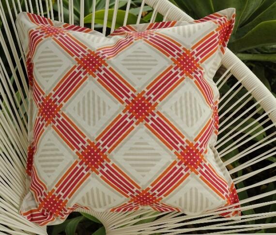 Pink & Orange Lattice Outdoor Indoor Cushion Bungalow Living