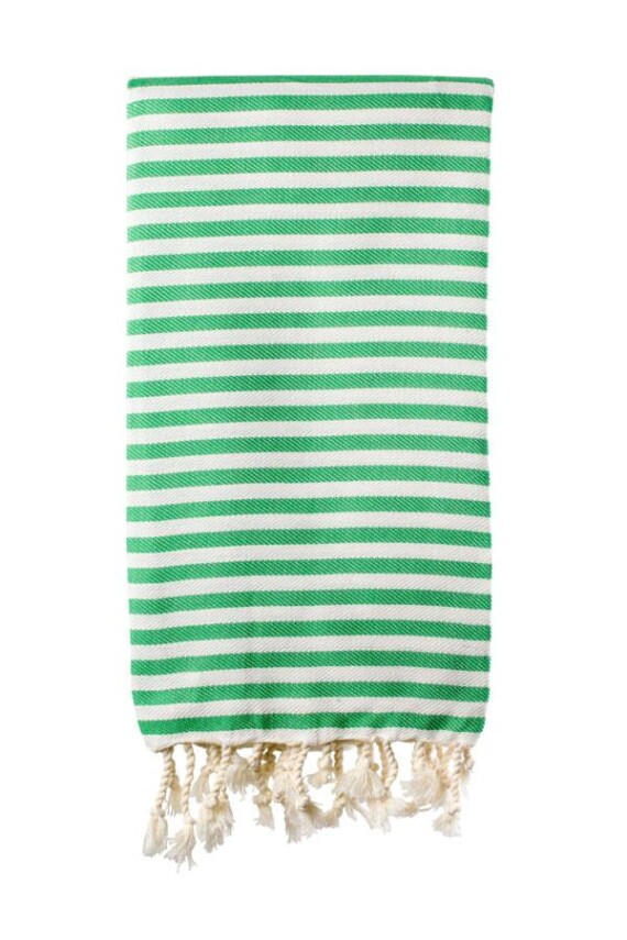 Green & White Turkish Towel
