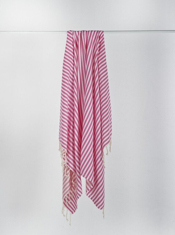 Pink & White Stripe Turkish Towel 2