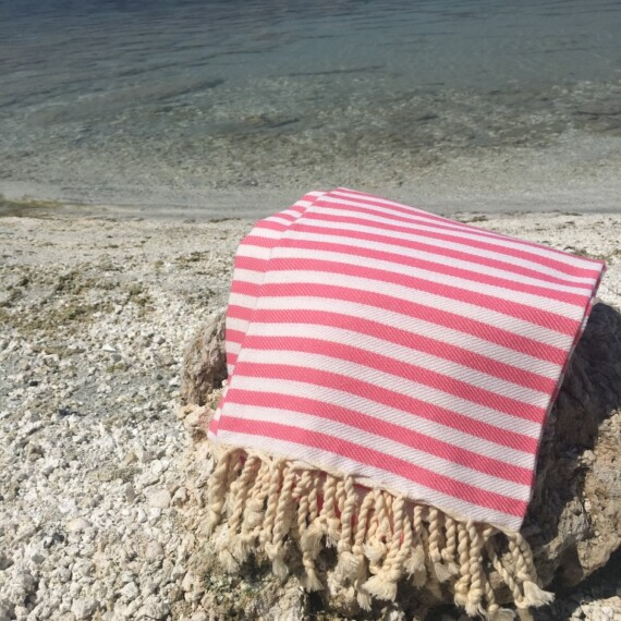 Pink & White Stripe Turkish Towel 3