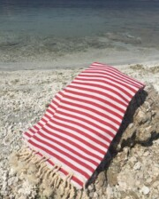 Red & White Stripe Turkish Towel Bungalow Living Australia