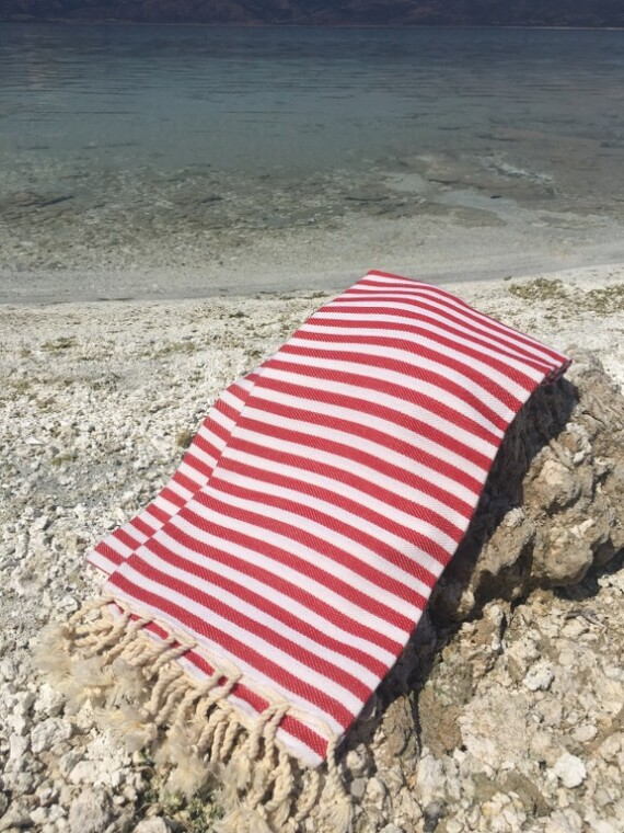 Red & White Stripe Turkish Towel 2