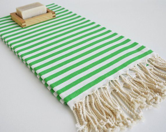 Bungalow Living Green & White Striped Turkish Towels Made in Turkey