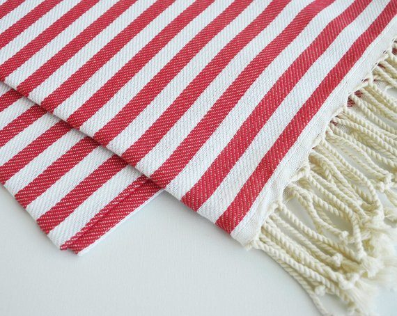 Red & White Striped Turkish Towels Bungalow Living
