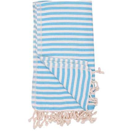 Aqua & White Stripe Turkish Towel Bungalow Living