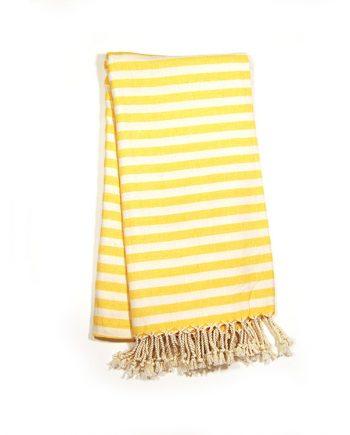 Yellow & White Stripe Turkish Towel Bungalow Living