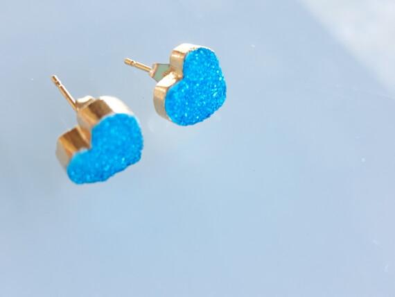 Blue Aqua Crystal Agate 24 K Gold Stud Earrings Bungalow Living