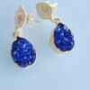 Blue Crystal Agate Gold Handmade Bungalow Living Earrings