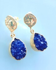 Blue Crystal Agate Gold Handmade Drop Bungalow Living Earrings