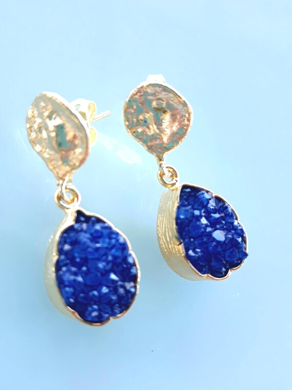 Blue Crystal Agate Gold Handmade Drop Bungalow Living Earrings