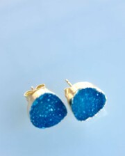 Blue Cyrstal Agate Sparkle Hand Made Gold Stud Earrings