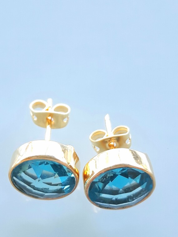 Blue Quartz Gold Hand Made Stud Earrings Bungalow Living