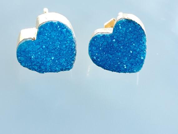 Bungalow Living Blue Crystal Agate Gold Handmade Stud Earrings