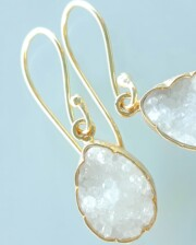 Crystal Agate Gold Hand Made Earrings Bungalow Living