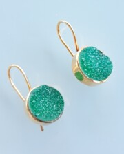 Emerald Green Crystal Agate Gold Handmade Earrings Bungalow Living