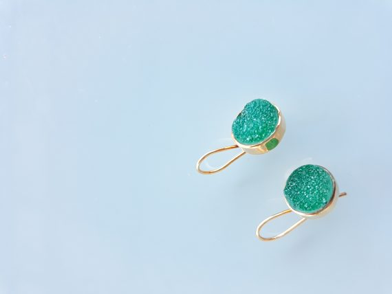 Green Crystal Agate Gold Hand Made Earrings Bungalow Living