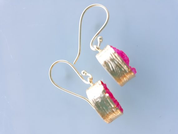 Hand Made Gold And Pink Crystalised Agate Earrings