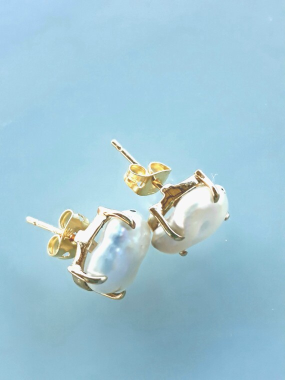Mother Of Pearl Hand Made Gold Earrings