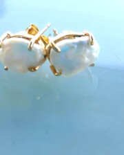 Mother Of Pearl Hand Made Gold Earrings Bungalow Living